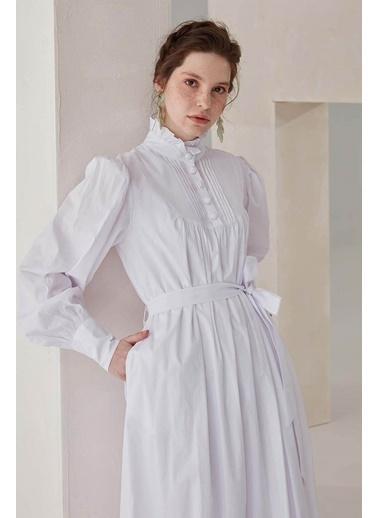 Vivencia Nervür Detaylı Poplin Kadın Elbise Beyaz Beyaz